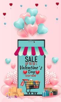 Felice banner di vendita di san valentino. negozio di acquisti online con cellulare