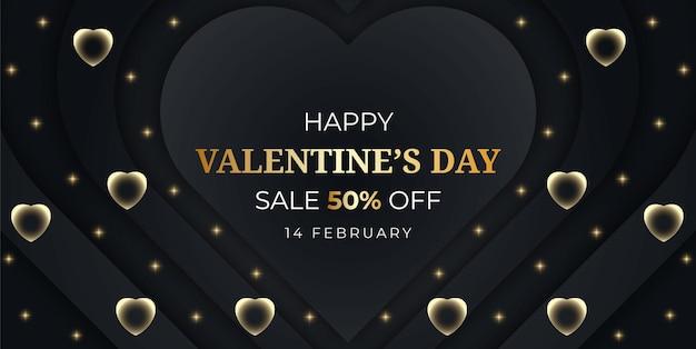 Felice banner di vendita di san valentino con cuore
