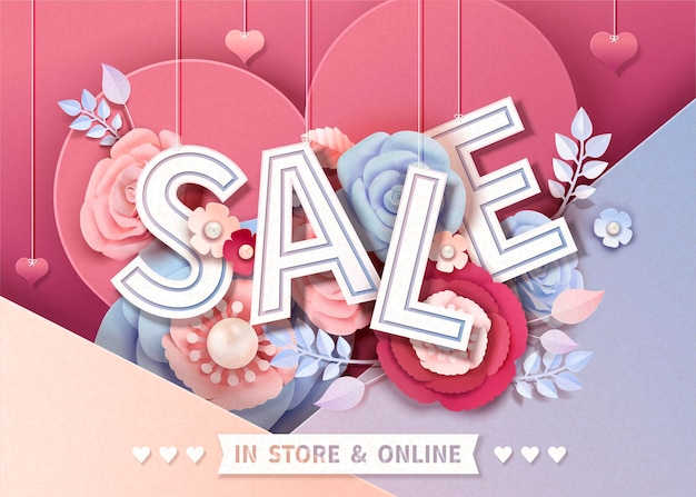 Felice banner di vendita di san valentino con fiori di carta, illustrazione 3d