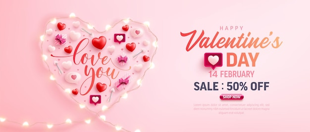 Felice banner di vendita di san valentino con il simbolo del cuore da luci stringa led ed elementi di san valentino in rosa