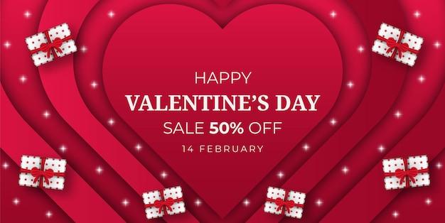 Fondo di offerta di vendita felice di san valentino con scatola regalo