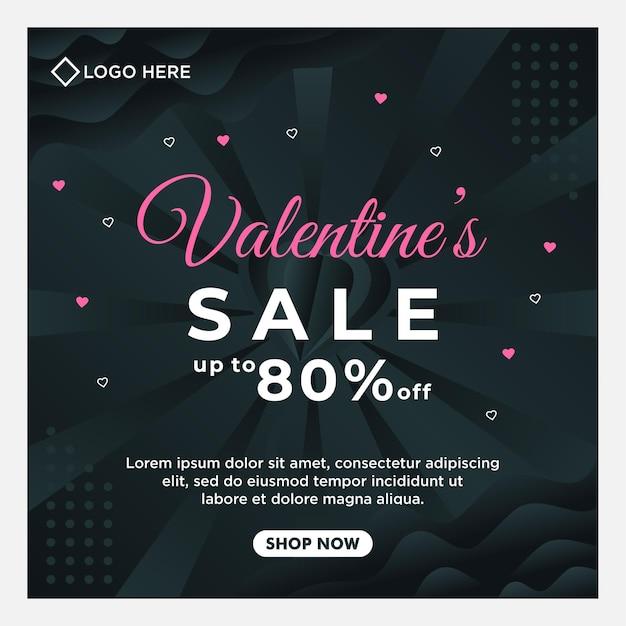 Felice modello di post sui social media di vendita di san valentino