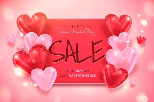 Buon modello di vendita di san valentino con palloncini a forma di cuore nell'illustrazione 3d