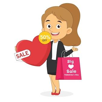 Vendita felice di san valentino con la donna di acquisto