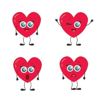 Buon san valentino. insieme di amore emoji isolato su bianco. collezione divertente cuore per san valentino.