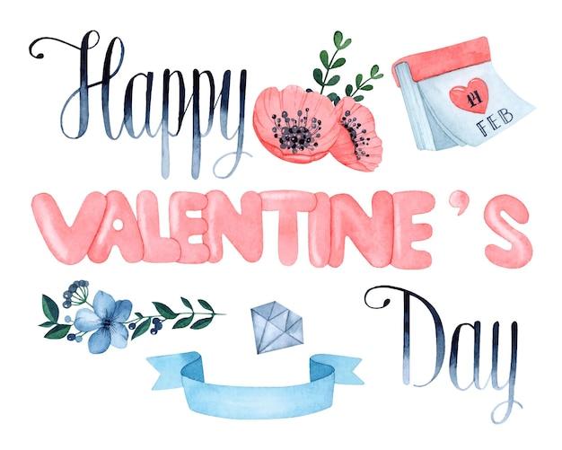 Insieme di elementi dell'acquerello di san valentino felice isolato