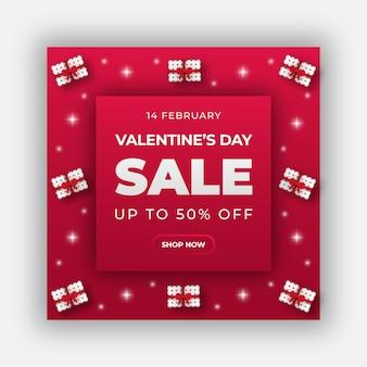 Felice banner web di san valentino o modello di post sui social media
