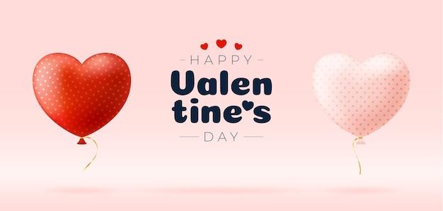 Buon san valentino con cuore di palloncini
