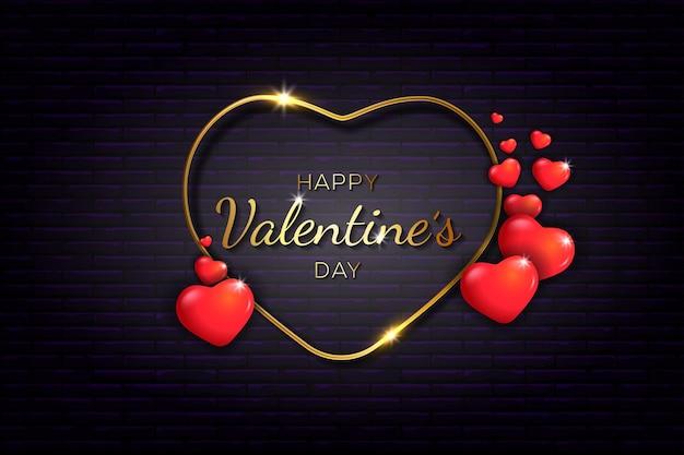 Buon san valentino con amore d'oro