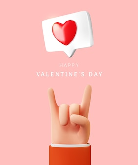 Buon san valentino con il segno della mano di amore e l'illustrazione del messaggio di amore