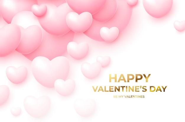 Buon san valentino con palloncini volanti rosa e bianchi con scritte dorate