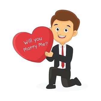 Buon san valentino, giovane uomo caucasico felice in ginocchio e fare una proposta di matrimonio