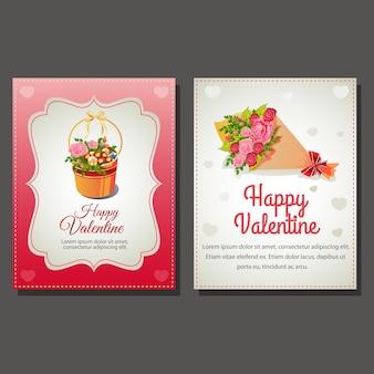 Buon san valentino con bouquet di rose