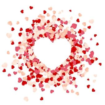 Felice giorno di san valentino sfondo di coriandoli di cuori rossi, rosa e bianchi di carta