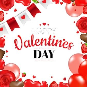 Felice giorno di san valentino confine con cuori e nastro con illustrazione di maglia gradiente