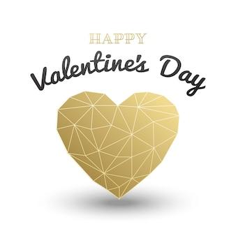 Felice giorno di san valentino carta, cuore poligonale