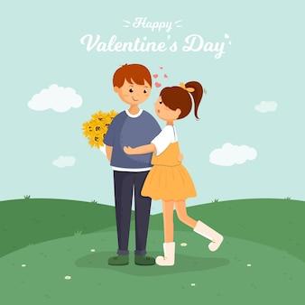 Felice giorno di san valentino carta con coppia carina nella foresta