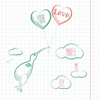 Felice giorno di san valentino carta con uccello kivi