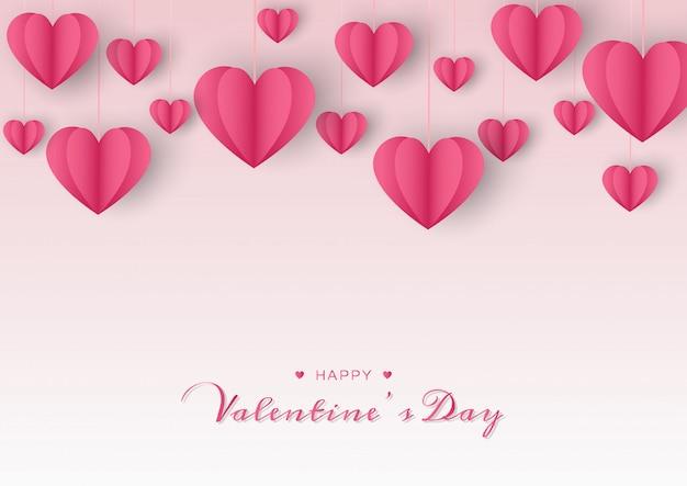Felice giorno di san valentino carta con cuore di carta