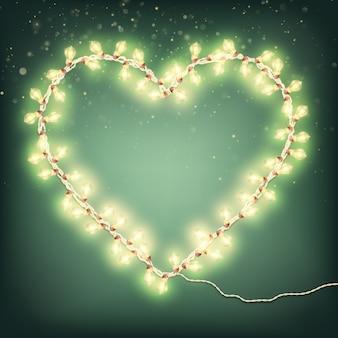 Happy valentines day card con luce ghirlanda.