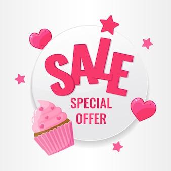 Buon san valentino concetto. etichetta con cuori rosa, stelle e cupcake festivo su sfondo bianco