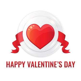 Concetto felice di giorno di biglietti di s. valentino con il nastro rosso e il simbolo del cuore rosso su fondo bianco.