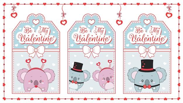 Felice giorno di san valentino simpatico animaletto koala disegno carte blu con cornice cuori
