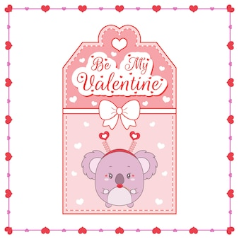Happy valentines day cute baby koala disegno card