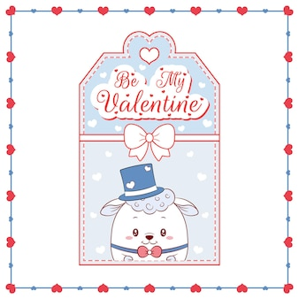 Felice giorno di san valentino carino baby pecore tag scheda di disegno