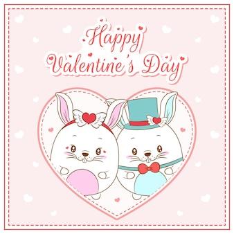 Felice giorno di san valentino simpatici coniglietti disegno cartolina grande cuore