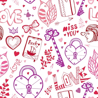 Buon san valentino. carino pattern di doodle con cuori, lettering e altri elementi vettoriali