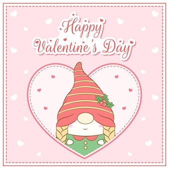 Felice giorno di san valentino ragazza carina gnomo disegno cartolina grande cuore
