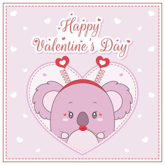 Felice giorno di san valentino carino koala ragazza disegno cartolina grande cuore