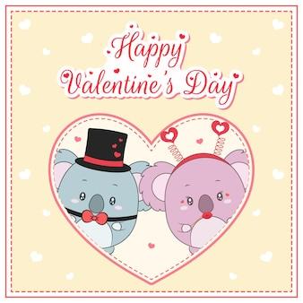 Felice giorno di san valentino simpatici koala disegno cartolina postale grande cuore