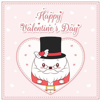 Felice giorno di san valentino simpatico babbo natale disegno cartolina postale grande cuore