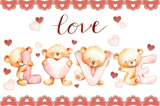 Felice giorno di san valentino simpatico orsacchiotto amore acquerello