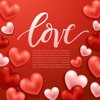Elementi felici di giorno di biglietti di s. valentino, cuori di san valentino realistici su fondo