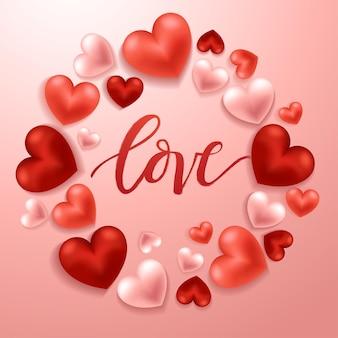 Elementi felici di giorno di biglietti di s. valentino, cuori di san valentino realistici su fondo Vettore Premium