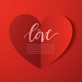 Elementi felici di giorno di biglietti di s. valentino, cuore di carta realistico del biglietto di s. valentino su fondo rosso