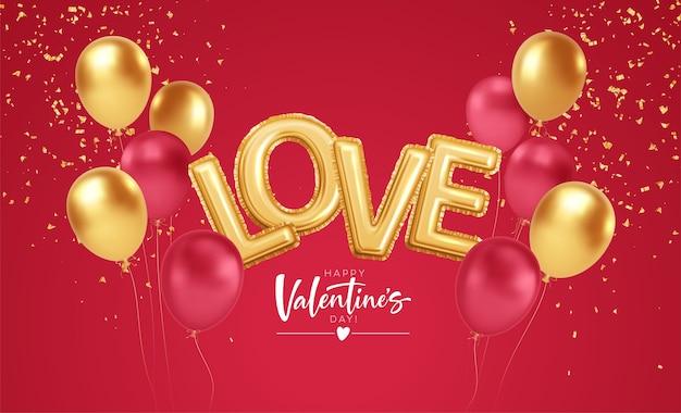 Buon san valentino oro e palloncini rossi con la scritta amore da palloncini di elio di lamina d'oro