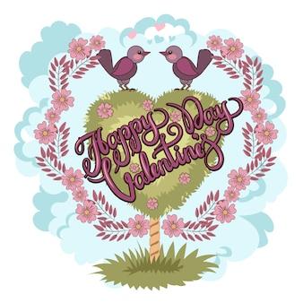 Felice giorno di san valentino biglietto d'auguri. carta di amore di uccello. stile retrò