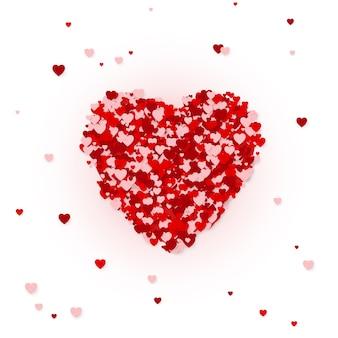 Concetto felice della cartolina d'auguri di san valentino. cornice cuore. coriandoli di cuori, concetto di carnevale