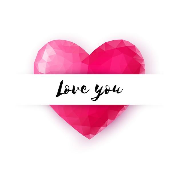 Cartolina d'auguri felice di giorno di biglietti di s. valentino cuore di cristallo decorativo di stile lowpoly con il testo di amore