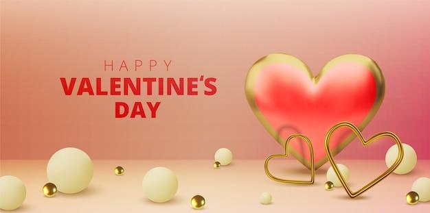 Felice giorno di san valentino biglietto di auguri, realistici cuori metallici oro e testo su sfondo rosa