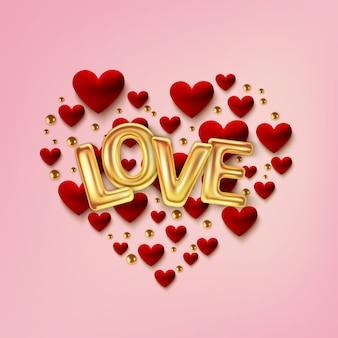 Cartolina d'auguri felice di giorno di biglietti di s. valentino, cuori rossi realistici su fondo rosa.