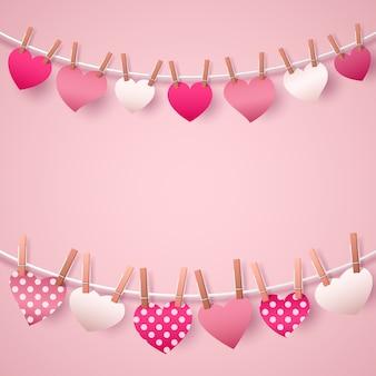 Modello di biglietto di auguri felice giorno di san valentino con ghirlanda di cuori.