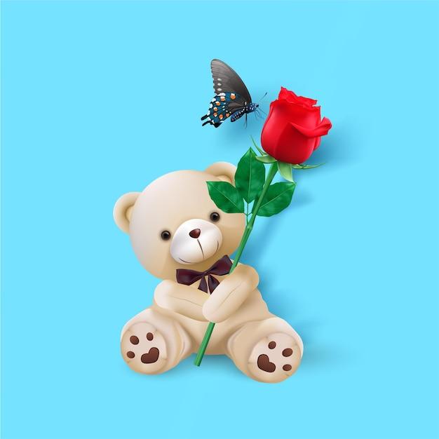 Buon san valentino. biglietto di auguri con orso carino tenere rosa rossa