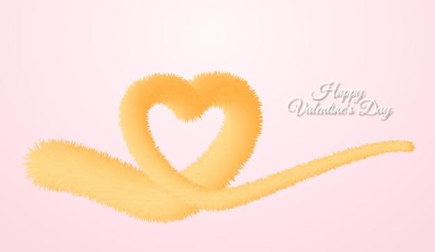 Cartolina d'auguri di felice giorno di san valentino con cuore fatto di linea