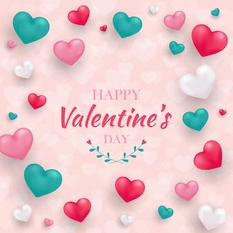 Buon biglietto di auguri di san valentino con cuori 3d realistici