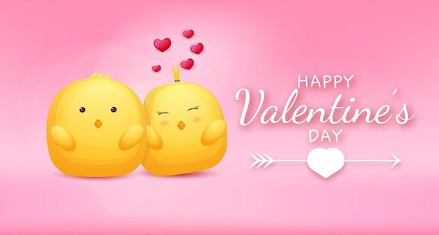 Felice giorno di san valentino saluto testo con coppia di pollo